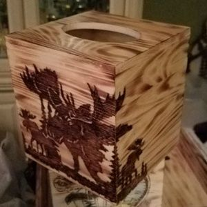 Other - Woodburned tissue box